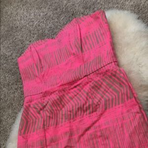Neon pink and tan strapless summer dress